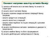 Основні напрями аналізу активів банку: 1) загальний аналіз