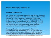 Russian Philosophy – Topic No. 15