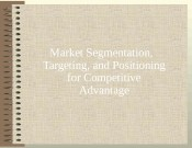 Market Segmentation,  Targeting, and Positioning for Competitive