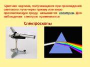 Спектроскопы Цветная картина, получающаяся при прохождении светового луча