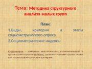 Тема:  Методика структурного анализа малых групп План: