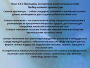 Тема 1. 4. 2 Принципы построения компьютерных сетей.