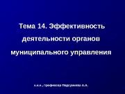 Презентация Тема 14. Эффект. деят. орг. МСУ
