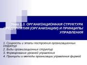 Тема 1. 3. ОРГАНИЗАЦИОННАЯ СТРУКТУРА ПРЕДПРИЯТИЯ (ОРГАНИЗАЦИИ) И