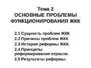 Тема 2 ОСНОВНЫЕ ПРОБЛЕМЫ ФУНКЦИОНИРОВАНИЯ ЖКК 2. 1
