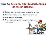 Тема 4. 5  Основы программирования на языке