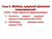 Тема 5:  Модель сукупної цінності можливостей