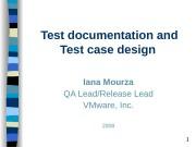 1 Test documentation and Test case design