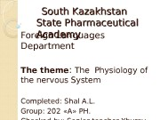 South Kazakhstan State Pharmaceutical Academy Foreign Languages Department