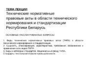 ТЕМА ЛЕКЦИИ : Технические нормативные правовые акты в