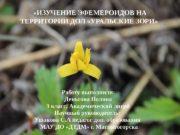 «ИЗУЧЕНИЕ ЭФЕМЕРОИДОВ НА ТЕРРИТОРИИ ДОЛ «УРАЛЬСКИЕ ЗОРИ»