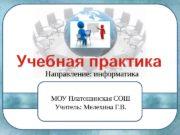 Направление: информатика МОУ Платошинская СОШ Учитель: Мелехина Г.
