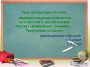 Урок литературы по  теме:  «Краткие сведения