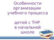 Особенности организации учебного процесса детей с ТНР в