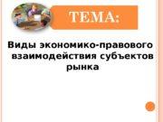 Виды экономико-правового взаимодействия субъектов рынка  ПЛАН ЛЕКЦИИ: