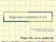 Вирусные гепатиты А и Е Мороз Л. В.