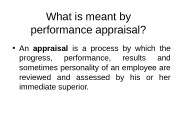 Презентация What is meant by performance appraisal