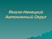 Презентация Ямало-Ненецкий Автономный Округ